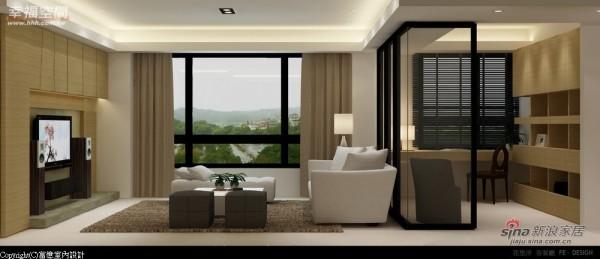 客厅、书房及餐厅,空间彼此借景