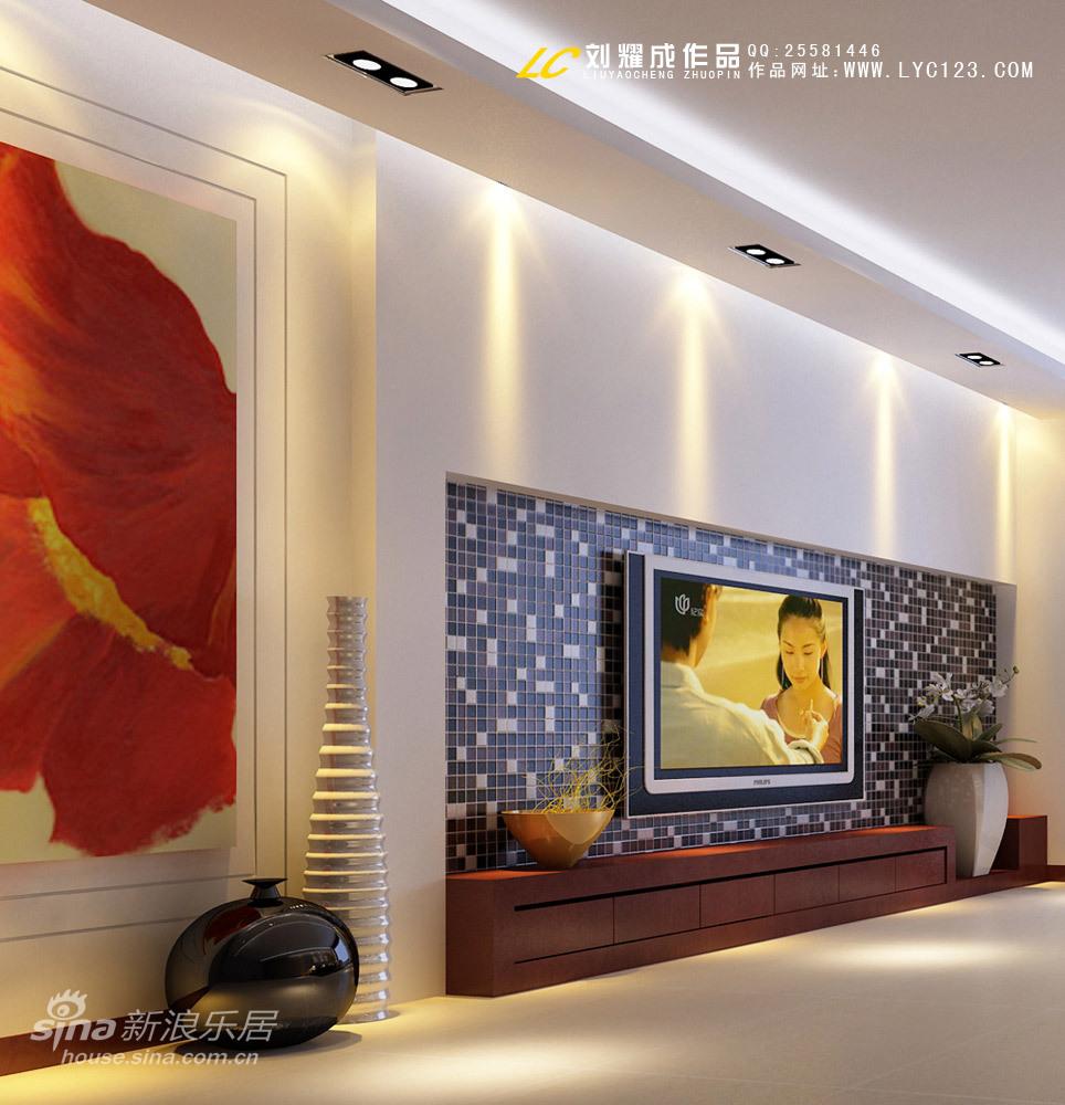 简约 四居 客厅图片来自用户2556216825在一套房子两种背景墙方案57的分享