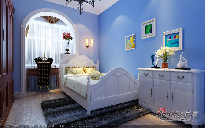 欧式 三居 卧室图片来自用户2746869241在8.7万打造贻长豪庭120平华丽3居50的分享