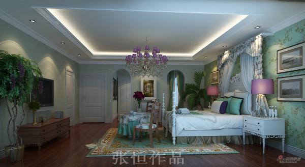 尚层装饰别墅装修设计案例卧室