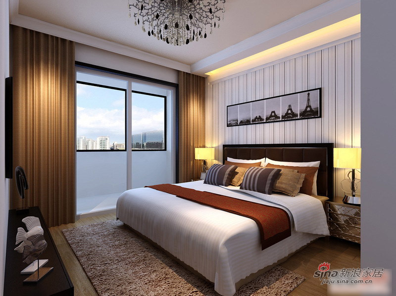 简约 二居 卧室图片来自用户2559456651在5.3万打造时尚90平黑白基调简约婚房74的分享