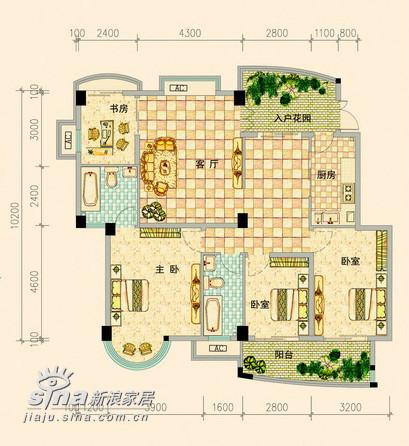 简约 四居 户型图图片来自用户2738093703在金色晓岛187的分享