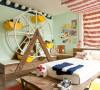 红蓝条纹装饰儿童房