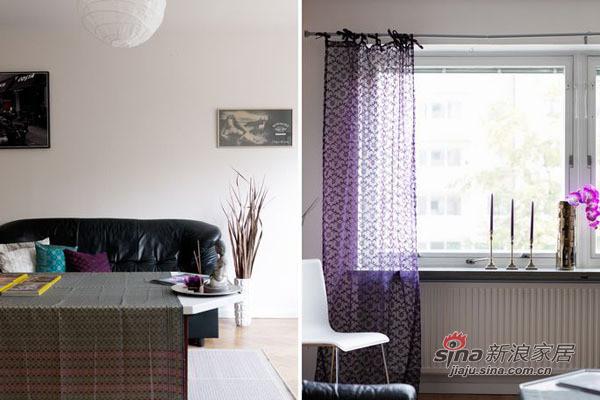 沙发区是房间极具凝聚力的地方,造型简洁的布艺沙发让空间更休闲性,深蓝色的布面搭配米色的方形地毯,有效地提升了房间的温暖指数。