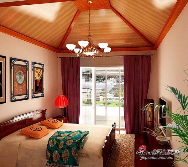 中式 四居 卧室图片来自用户1907659705在顺义235㎡中式别墅设计案例68的分享
