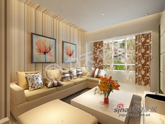 简约 二居 客厅图片来自阳光力天装饰在华城佳苑B户型简约两居84的分享