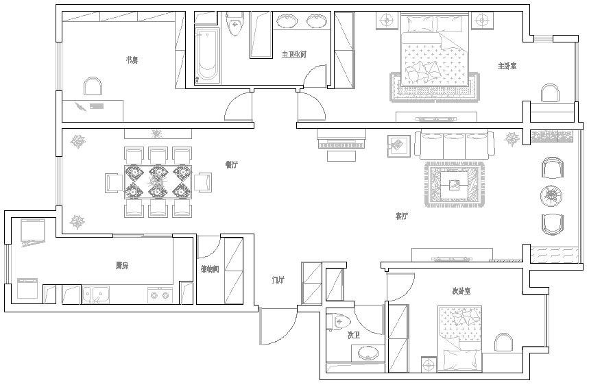 中式 三居 户型图图片来自用户2737751153在紫金长安31的分享