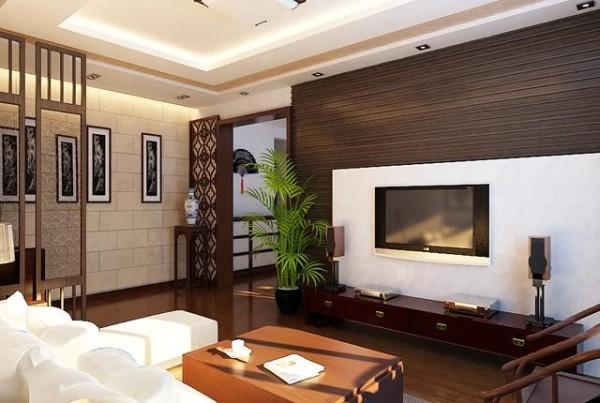 电视背景墙采用黑白俩色体现简洁,现代感十足,业主是年轻人,中式还要现代。