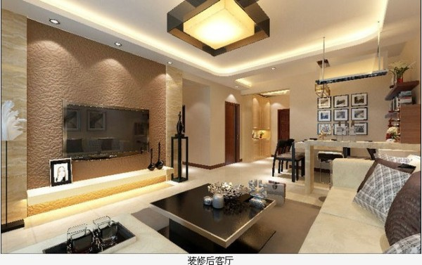 在电视墙的色调上采用浅咖啡色硅藻泥效果与米黄石材相结合