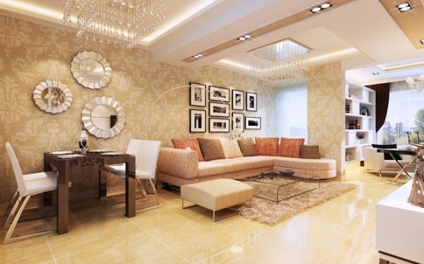 别致的照片墙,淡黄的地面和壁纸墙塑造一种温馨的气氛