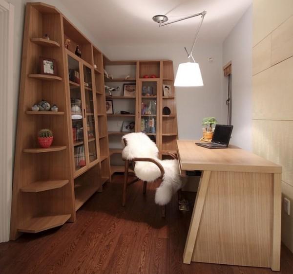 造型别致的书架,赶走书房的沉闷,白色的读书椅皮草,温暖你的书房,让你的书房冬夏皆宜