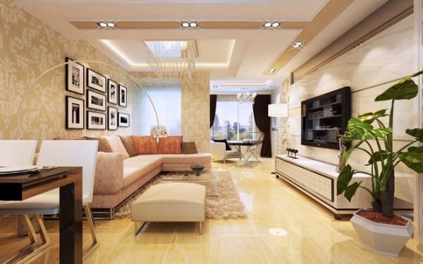 温馨 明亮 浅棕色的布艺沙发给人温馨 浪漫的感觉。坐在其中被浓浓温馨感觉包裹 工作一天的疲惫身心不由慢慢放松