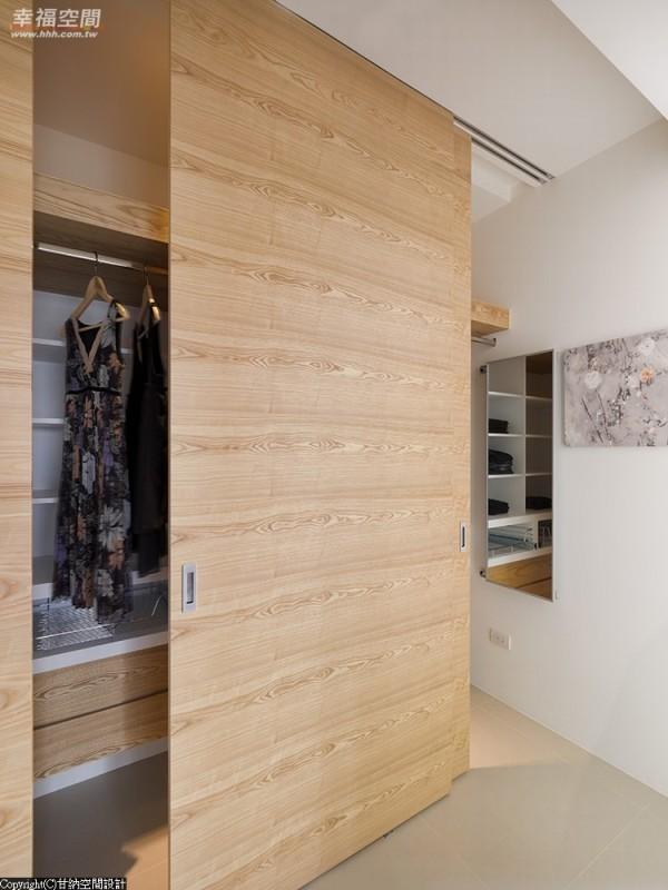 多元变化空间-大片横拉门的设计,打造半开放更衣室概念衣柜。