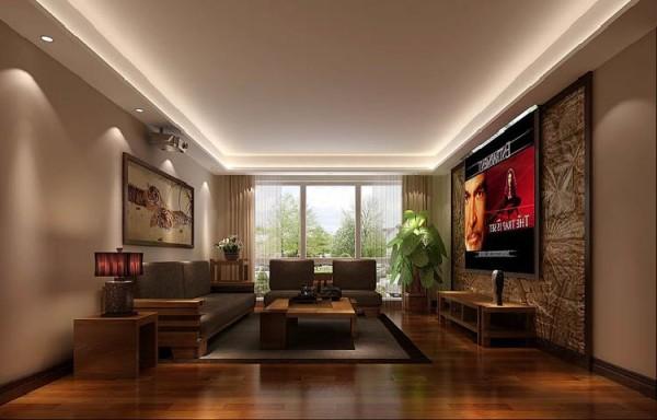 背投电视,配合方正新中式沙发,客厅的大气跃然而上