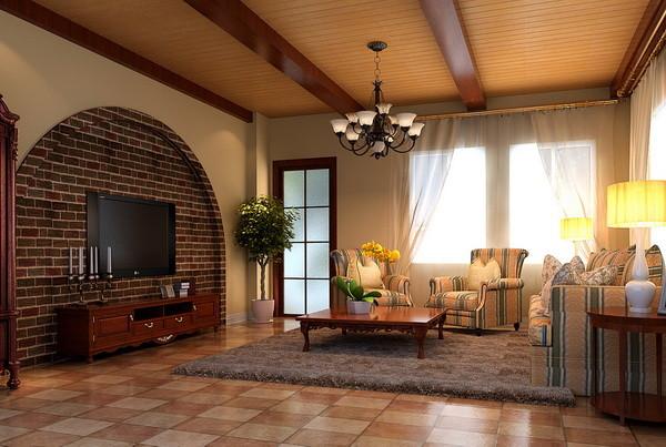 客厅:此空间是整个方案的核心部分,电视背景墙采用了拱形的造型和仿古砖的搭配设计使得空间色调变得更接近乡村田园的感觉