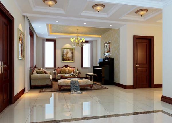 客厅承担着生活和社交等多重功能,因此在设计上凸显新古典主义的大气和典雅,整个房间的功能紧凑,风格典雅;整体的浅色调与古典线条相融合,并配以欧式暗纹,调和并散发出一种独特的艺术气息。