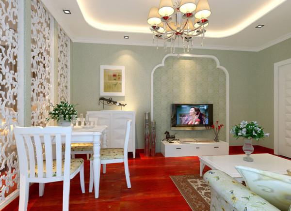 朦胧的嫩绿色的墙面将田园风格装修进行到底,搭配上素白的椅子清新之感油然而生,如诗如图。