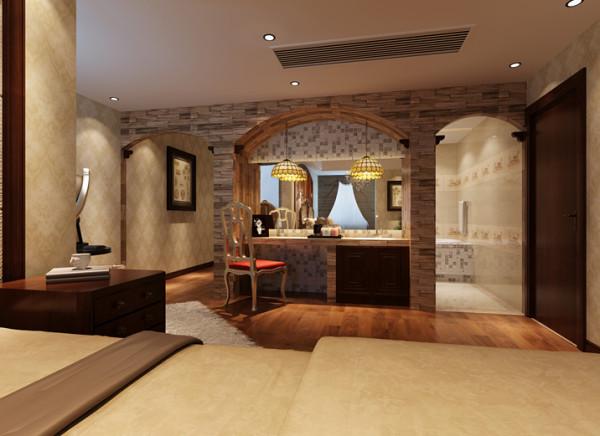 设计理念:卧室梳妆台进行倒圆弧处理,柜子、床等家具色调比较纯洁,白色、木本色都是经典色彩。