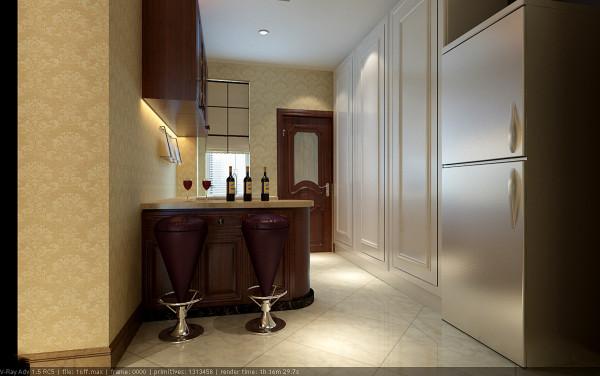 将西厨与中餐厅完美结合。吧台的使用灵活而又精致,装饰性体现的同时实用性也得以实现,同时樱桃木色的呼应也与整体风格搭配,高雅而又奢华。