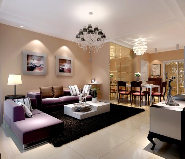 电视背景墙用简单的金色镜框勾勒,并配以黑白色大花色壁纸,在整个客厅空间起到画龙点睛作用,亮点突出又不跳跃,与对面的紫色沙发在空间上进行了完美的交流。