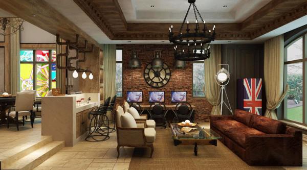 別墅美式客廳裝修效果圖片_裝修美圖-新浪裝修家居網