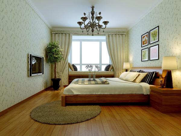 主卧选用浅绿色的碎花壁纸、鹅黄色的实木地板,营造出干净舒适的氛围。欧式水晶吊灯增添了贵族气息,更时尚温馨。