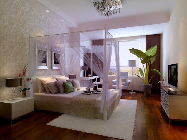 女儿房选用浅金色壁纸配上粉紫色的家具、床品,将女孩子的爱美柔情表现出来简约中透着时尚、富贵气息。