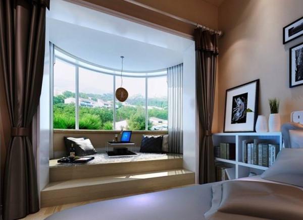 卧室阳台着重配饰的选择,贴合原始户型上的造型。以轻装修重装饰的设计理念。与整体空间协调。