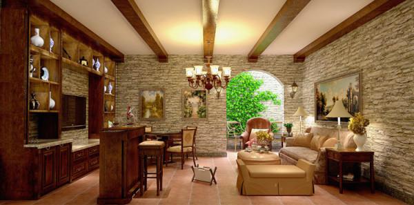 地下室设计方案,整个空间的乡村自然感觉直接由室外延伸到室内,墙面的特殊处理为设计亮点