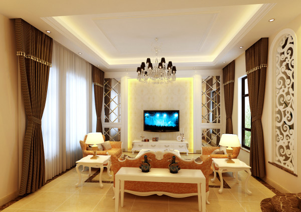 欧式的沙发布置、经典黄色墙漆,配上咖色窗帘,很有品味。