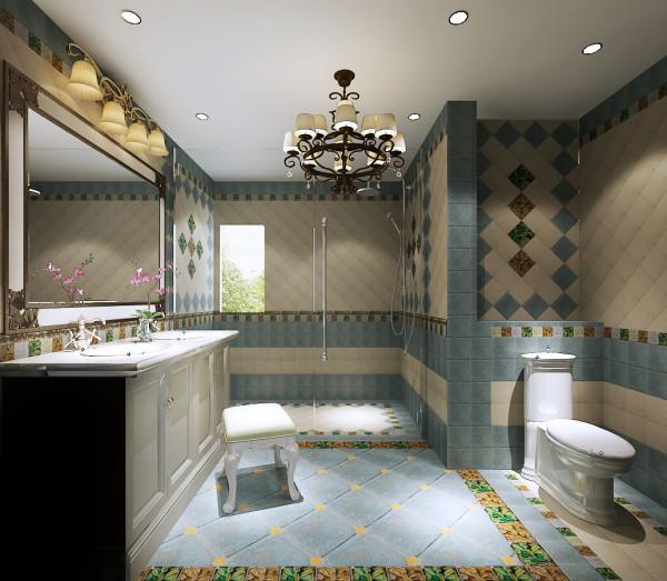 采用了地理石瓷砖,来体现整体的品质与质量,配有中式的浴室柜,整体效果更为明亮。
