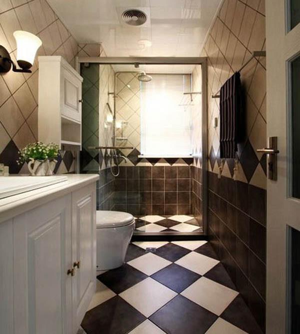 安装淋浴房,做出空间干湿分离。地面和墙体的瓷砖铺贴选择既跳跃又协调的拼花方式,色调也以黑白黄为主。洗手柜提供了收纳空间。