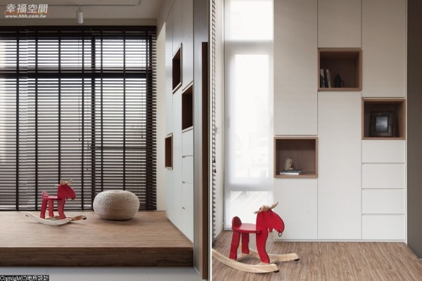 设计师架高平台地板让空间多了层次,也砌出一处休闲空间;木皮喷漆的柜体也以不规则的收纳开口,增加趣味性。