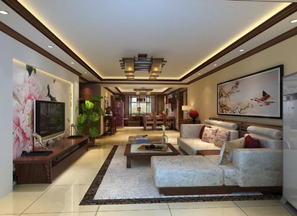 浅黄色墙漆为主基调,电视墙用中式墙纸,深色色调点缀,客厅地面采用地砖体现了主人温馨高档。沙发造型是中式的家具,特出客户的生活品质。