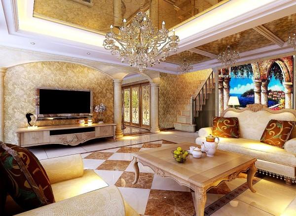设计灵感来源法兰西华丽浪漫感,大面积复合石材的运用展示,只为营造大气又不失奢华的氛围
