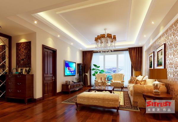有层次的吊顶、欧式的沙发,配上咖色的窗帘,很有品质感。电视背景墙很简单,但是整个空间就给予人奢华大气之感。