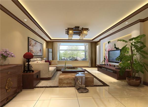 这样给客厅在中式风格增加装饰作用,浅黄色墙漆为主基调,电视墙用中式墙纸,深色色调点缀,客厅地面采用地砖体现了主人温馨高档。沙发造型是中式的家具,特出客户的生活品质。