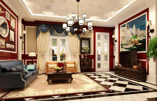 美式会客室,蓝色的使用让整个空间更加沉着冷静,适合会谈交流