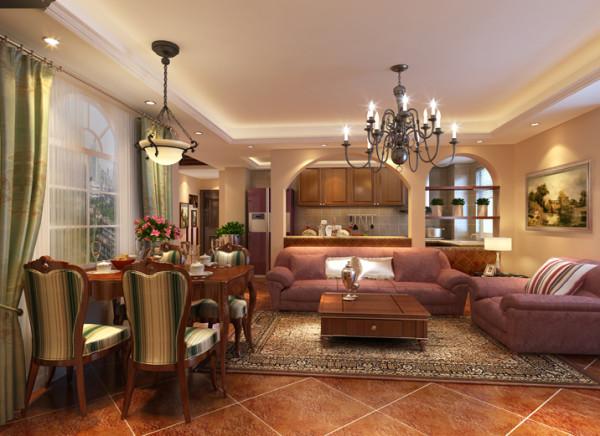 在设计上做了开放式厨房做为家里增加居室装饰面积增大,整体颜色造型背景墙和餐桌中西厨房向结合,再加上仿古砖的点缀,豪华视觉效果