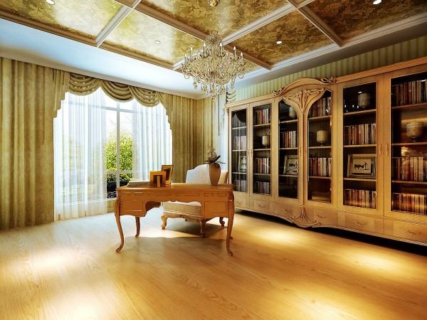 淡黄色的墙壁,浅铜色的书柜,墙角佐以绿色的植物,地板运用同色系,比墙纸的色要深一些,营造亲和和华贵的感觉