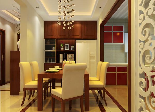 餐厅的设计主要遵循方便,使用。冰箱嵌入式设计,隐藏在橱柜里面