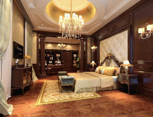 沉稳大气的欧式卧室,配以独特的吊灯设计,尊贵感十足