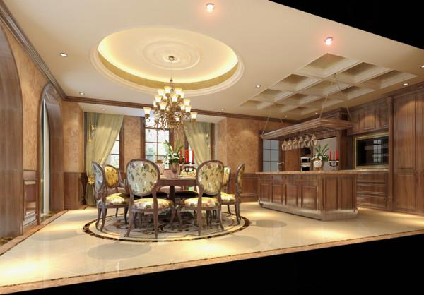 吊顶的设计与圆餐桌相呼应,整体和谐统一,感受自然舒适