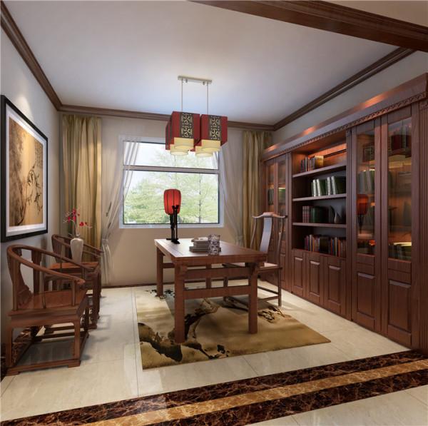 门厅采用了传统中式风格家具,用一些实木线条做装饰。这样给书房在中式风格增加装饰作用,浅黄色墙漆为主基调,书房地面采用地砖体现了主人温馨高档。