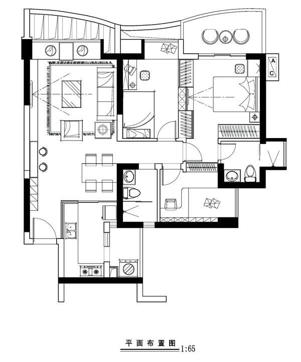 城建 世华泊郡 120平米  80后小夫妻现代简约型的 婚房设计案例——平面布置图