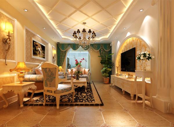 欧式的元素的体现。客厅的电视背景墙运用了罗马柱和石膏板的结合做的造型,并留有反光灯槽,