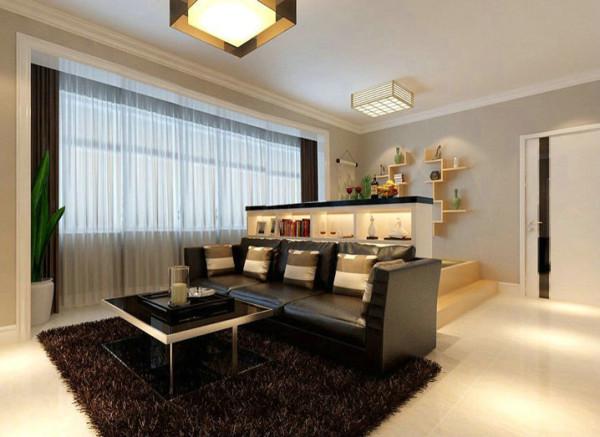 塌塌米的造型设计增加了储物空间,又增加了客厅的格调。