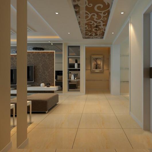 门厅过道吊顶也是采用白色镂空雕花,车边境跟客厅背景墙交相辉映。鹅黄色的地砖,增添了家的温馨舒适之感。
