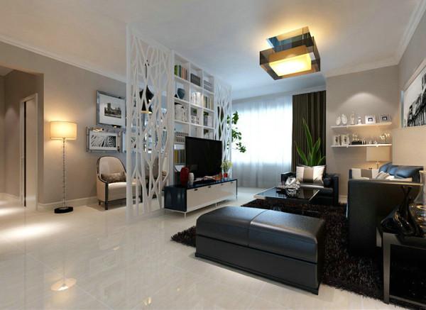 灰色系的墙漆点缀,配上镂空花格屏风造型的电视背景墙设计,提升整个客厅空间的精致温馨又独显个性。