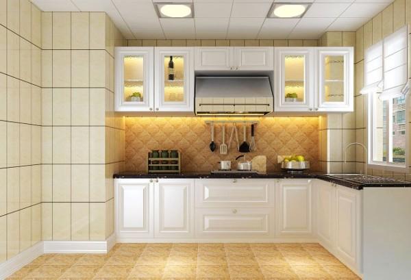 设计理念:主要用米色的砖来搭配白色的欧式橱柜,使厨房空间晓得尤为宽敞明亮